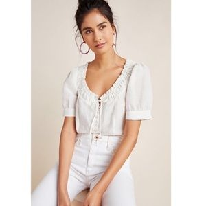 Anthropologie Meave Winifred White Blouse